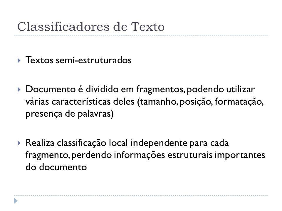 Classificadores de Texto Textos semi-estruturados Documento é dividido em fragmentos, podendo utilizar várias características deles (tamanho, posição,