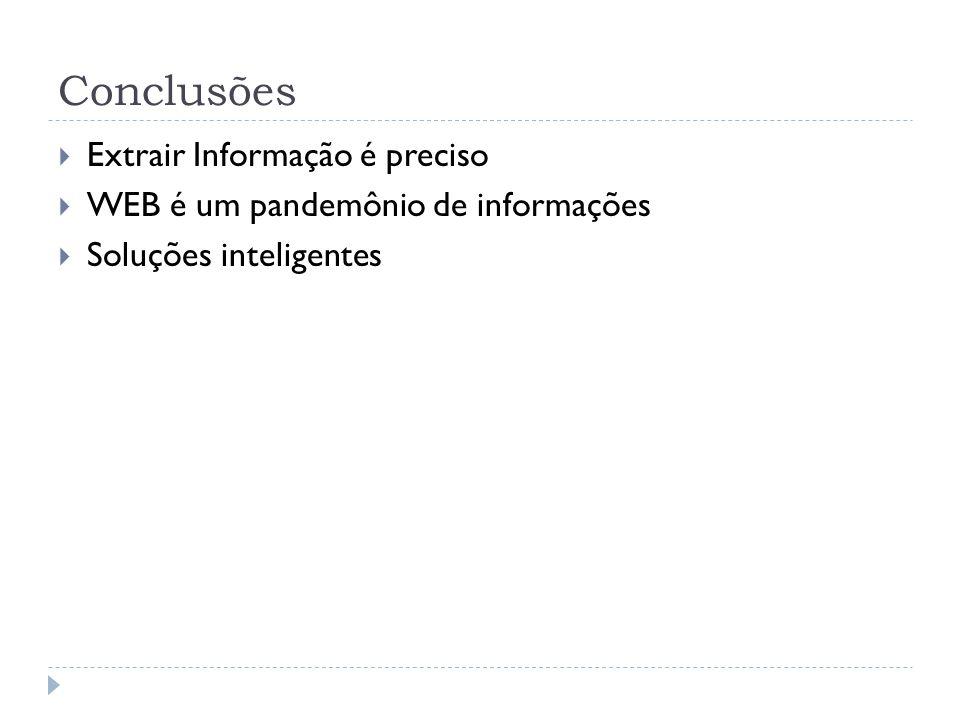 Conclusões Extrair Informação é preciso WEB é um pandemônio de informações Soluções inteligentes