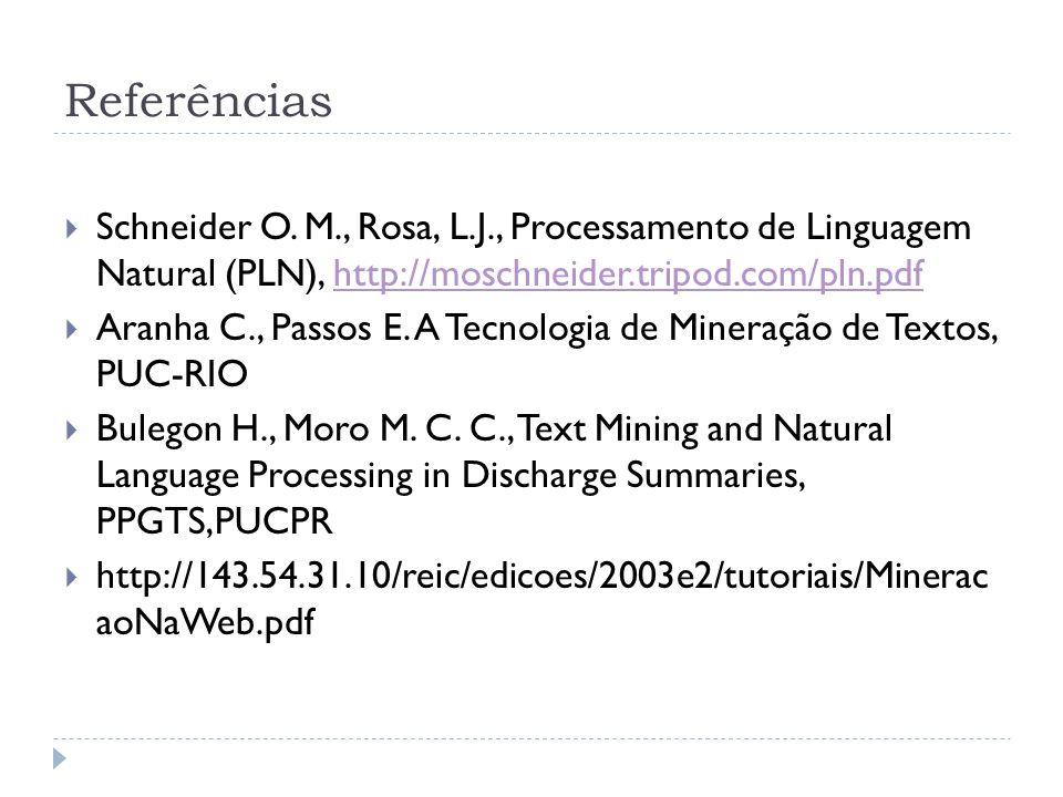 Referências Schneider O. M., Rosa, L.J., Processamento de Linguagem Natural (PLN), http://moschneider.tripod.com/pln.pdfhttp://moschneider.tripod.com/