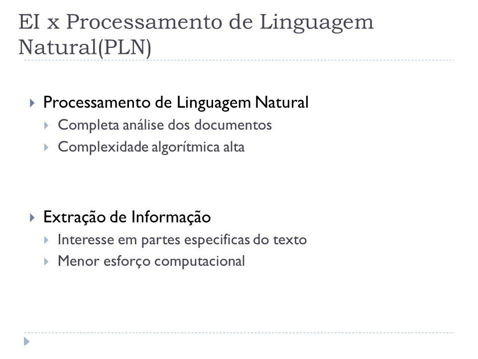 EI x Processamento de Linguagem Natural(PLN) Processamento de Linguagem Natural Completa análise dos documentos Complexidade algorítmica alta Extração