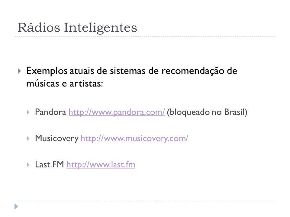 Rádios Inteligentes Exemplos atuais de sistemas de recomendação de músicas e artistas: Pandora http://www.pandora.com/ (bloqueado no Brasil)http://www.pandora.com/ Musicovery http://www.musicovery.com/http://www.musicovery.com/ Last.FM http://www.last.fmhttp://www.last.fm