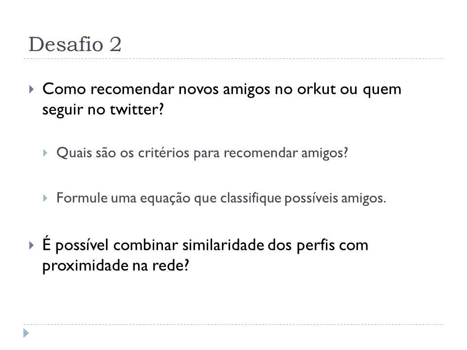 Desafio 2 Como recomendar novos amigos no orkut ou quem seguir no twitter.