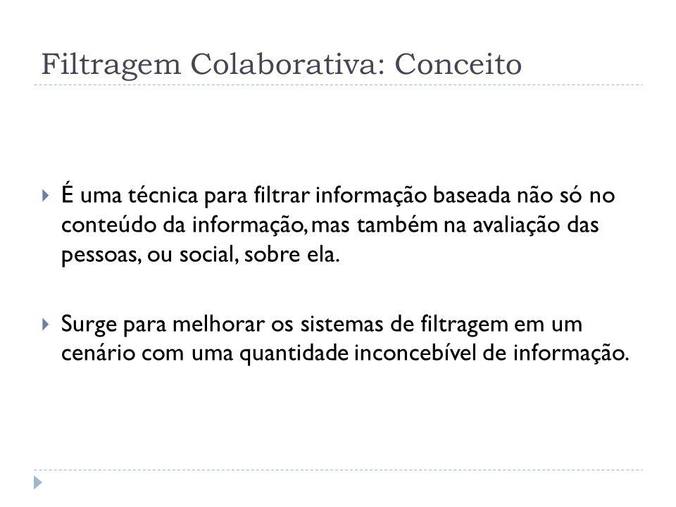 Filtragem Colaborativa: Conceito É uma técnica para filtrar informação baseada não só no conteúdo da informação, mas também na avaliação das pessoas, ou social, sobre ela.