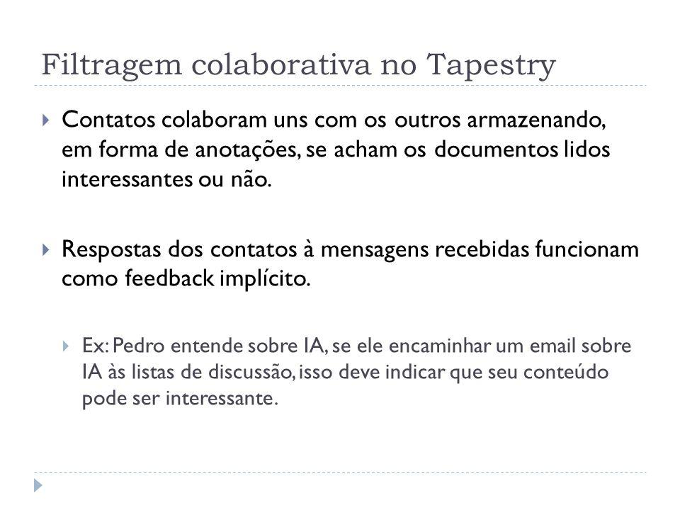 Funcionamento do Tapestry Usuário cria uma busca (em linguagem semelhante ao SQL) sobre algum assunto O sistema faz a busca, baseado em tags associadas aos documentos, no repositório de mensagens Confronta o resultado com anotações positivas para estas mensagens filtradas no repositório de anotações