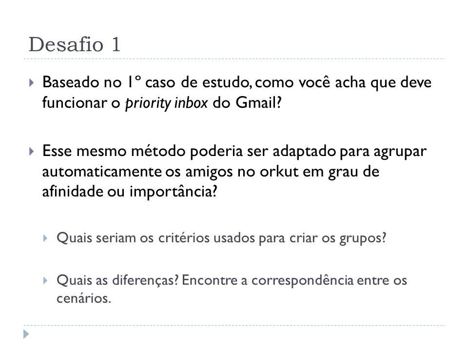 Desafio 1: Sugestão de resposta Priority inbox do Gmail: Pode procurar nos emails recebidos as mensagens daqueles remetentes que o usuário costuma ler e daqueles que não.