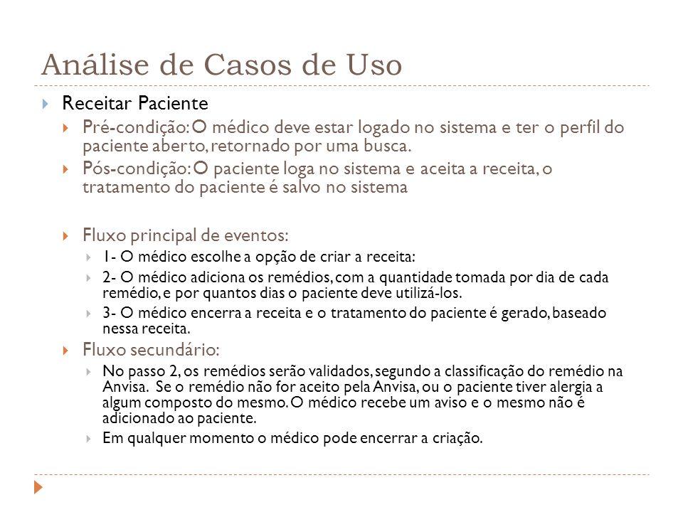 Análise de Casos de Uso Receitar Paciente Pré-condição: O médico deve estar logado no sistema e ter o perfil do paciente aberto, retornado por uma busca.