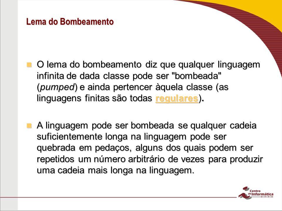 Lema do Bombeamento O lema do bombeamento diz que qualquer linguagem infinita de dada classe pode ser bombeada (pumped) e ainda pertencer àquela classe (as linguagens finitas são todas regulares).