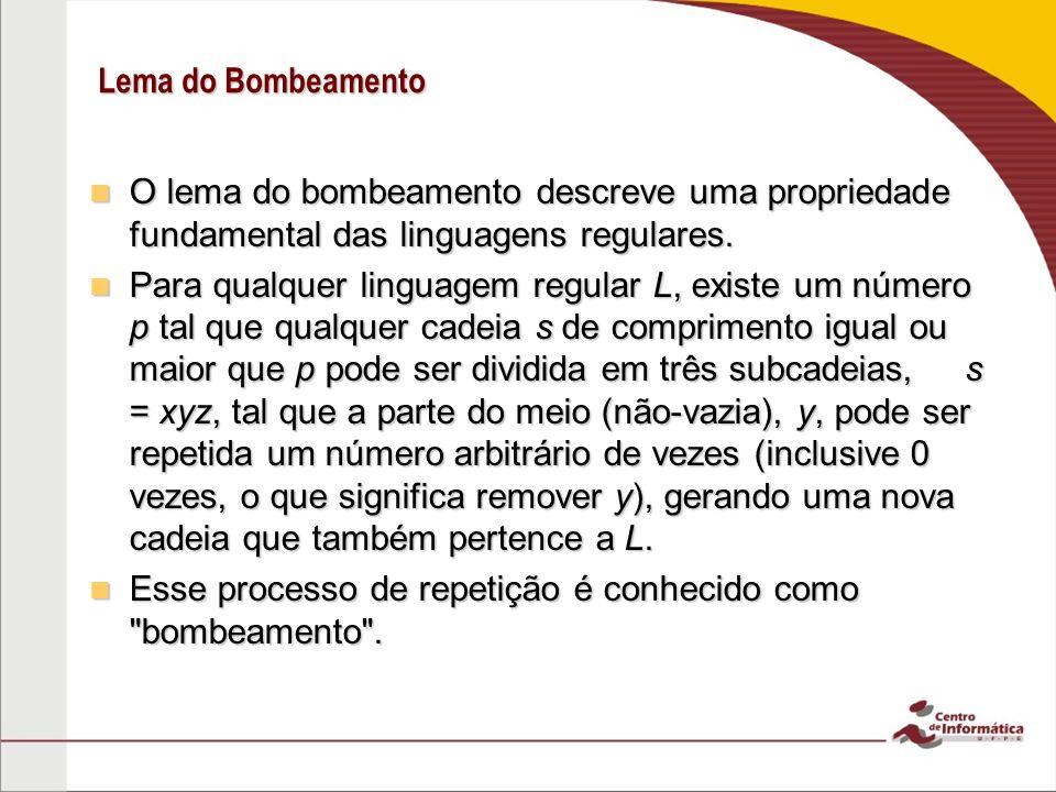 Lema do Bombeamento O lema do bombeamento descreve uma propriedade fundamental das linguagens regulares.