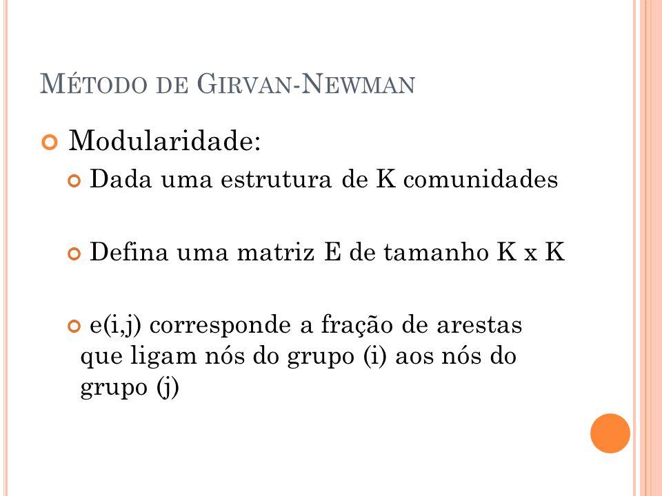 M ÉTODO DE G IRVAN -N EWMAN Modularidade: Dada uma estrutura de K comunidades Defina uma matriz E de tamanho K x K e(i,j) corresponde a fração de ares