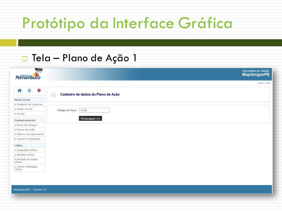 Protótipo da Interface Gráfica Tela – Plano de Ação 1 WIREFRAMES!!!