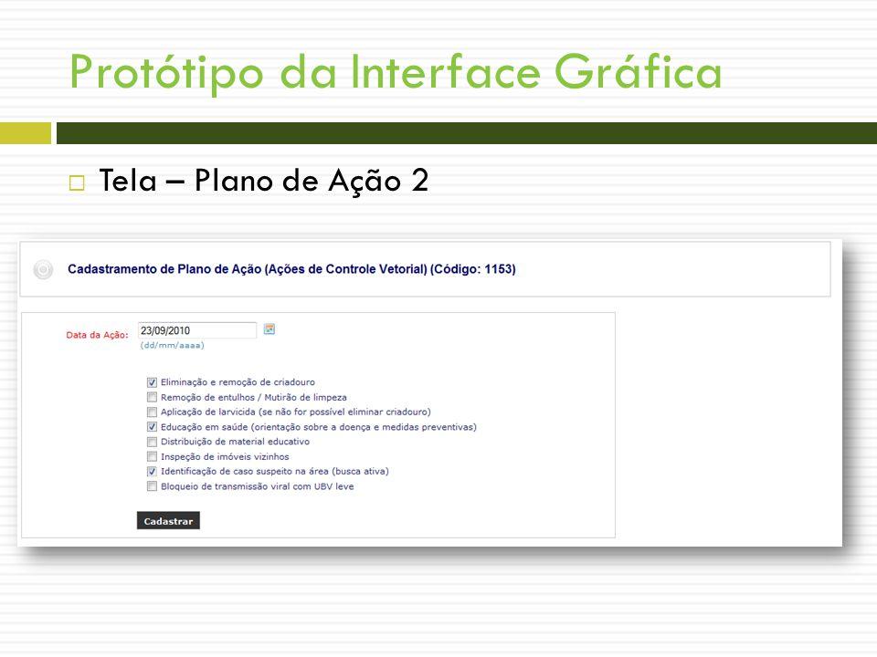 Protótipo da Interface Gráfica Tela – Plano de Ação 2 WIREFRAMES!!!