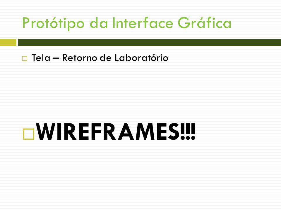 Protótipo da Interface Gráfica Tela – Retorno de Laboratório WIREFRAMES!!!