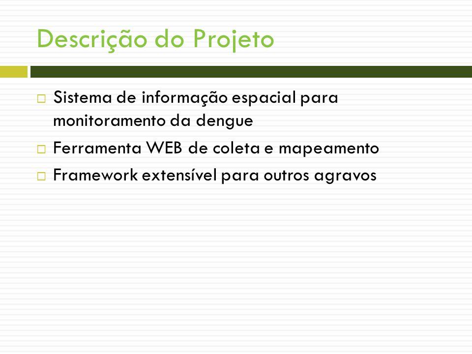 Descrição do Projeto Sistema de informação espacial para monitoramento da dengue Ferramenta WEB de coleta e mapeamento Framework extensível para outros agravos
