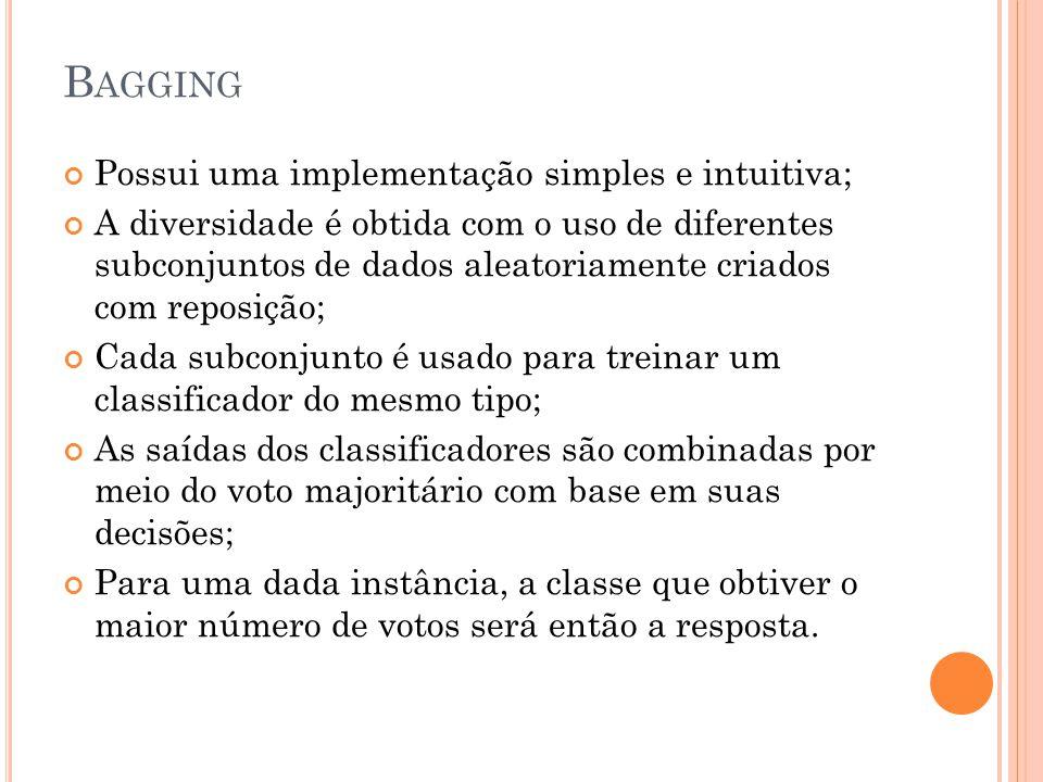 B AGGING Possui uma implementação simples e intuitiva; A diversidade é obtida com o uso de diferentes subconjuntos de dados aleatoriamente criados com