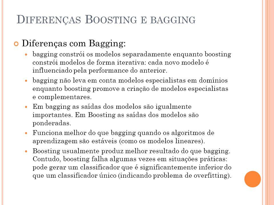 D IFERENÇAS B OOSTING E BAGGING Diferenças com Bagging: bagging constrói os modelos separadamente enquanto boosting constrói modelos de forma iterativa: cada novo modelo é influenciado pela performance do anterior.