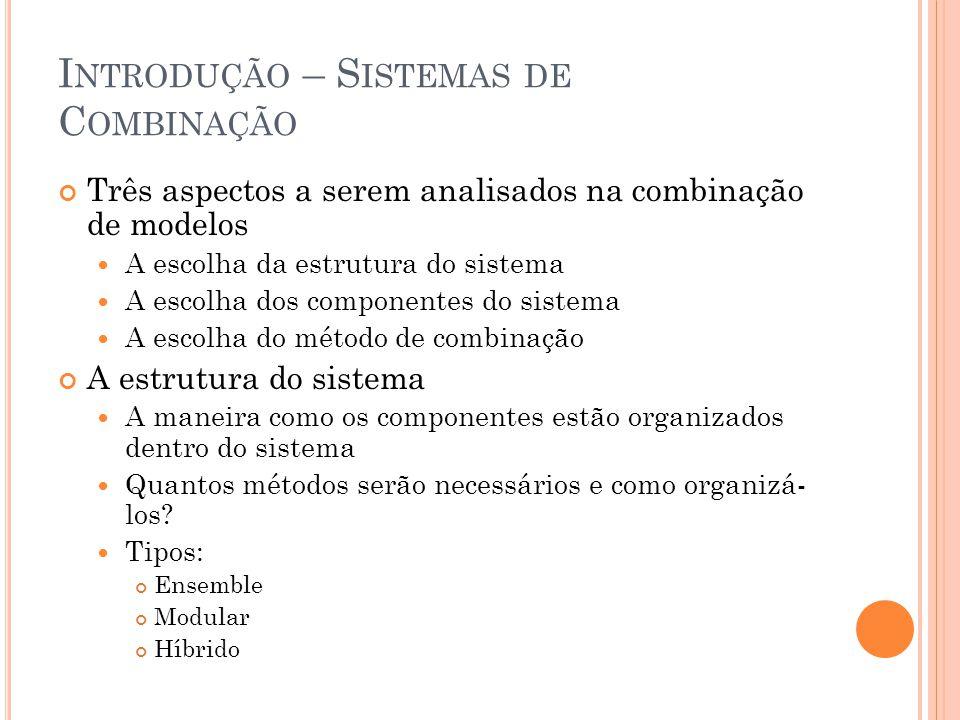 I NTRODUÇÃO – S ISTEMAS DE C OMBINAÇÃO Três aspectos a serem analisados na combinação de modelos A escolha da estrutura do sistema A escolha dos compo