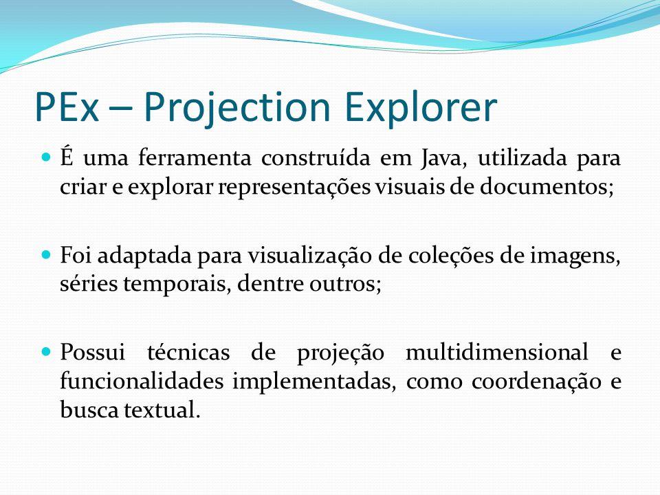 PEx – Projection Explorer É uma ferramenta construída em Java, utilizada para criar e explorar representações visuais de documentos; Foi adaptada para visualização de coleções de imagens, séries temporais, dentre outros; Possui técnicas de projeção multidimensional e funcionalidades implementadas, como coordenação e busca textual.