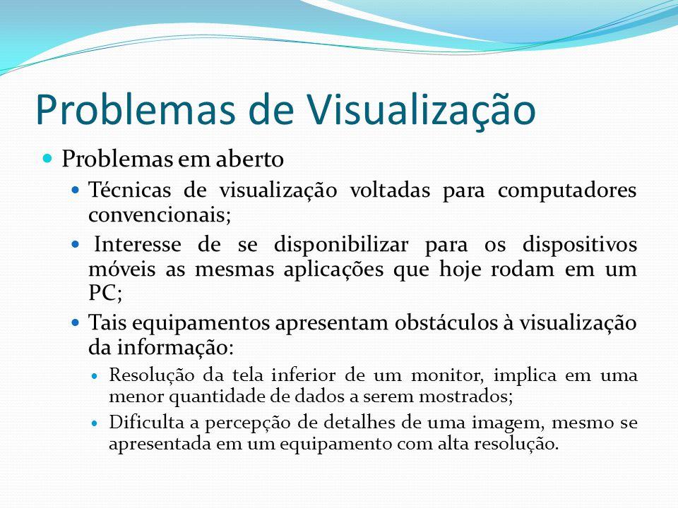 Problemas de Visualização Problemas em aberto Técnicas de visualização voltadas para computadores convencionais; Interesse de se disponibilizar para o
