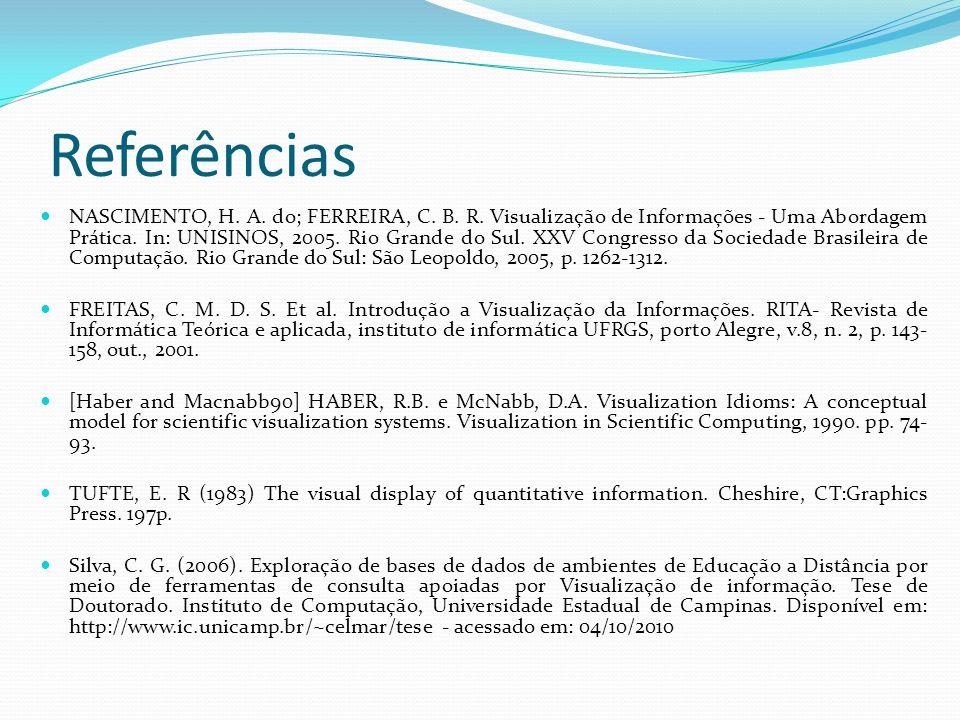 Referências NASCIMENTO, H. A. do; FERREIRA, C. B. R. Visualização de Informações - Uma Abordagem Prática. In: UNISINOS, 2005. Rio Grande do Sul. XXV C