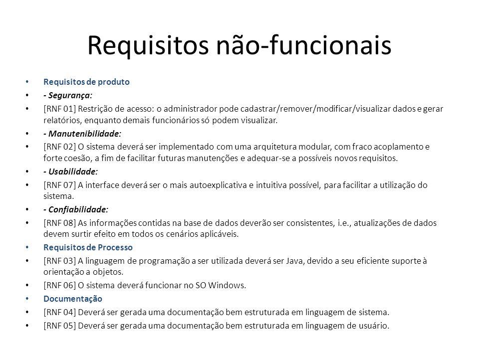 Requisitos não-funcionais Requisitos de produto - Segurança: [RNF 01] Restrição de acesso: o administrador pode cadastrar/remover/modificar/visualizar