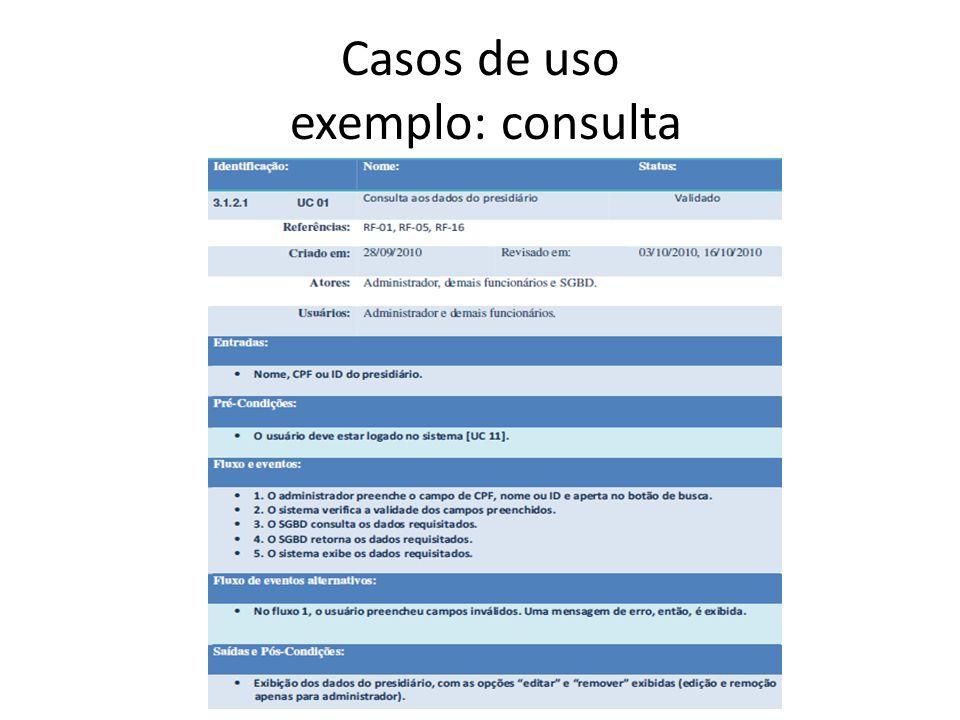 Casos de uso exemplo: consulta