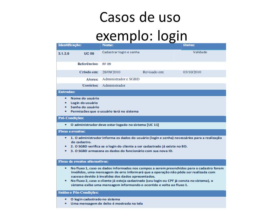 Casos de uso exemplo: login