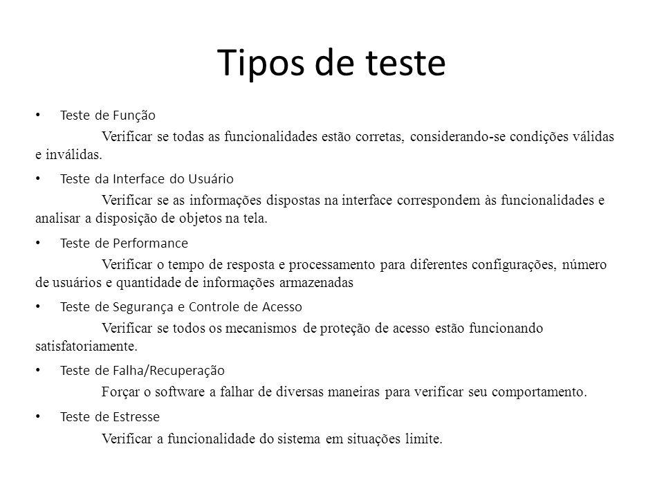 Tipos de teste Teste de Função Verificar se todas as funcionalidades estão corretas, considerando-se condições válidas e inválidas. Teste da Interface