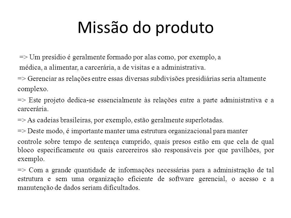 Missão do produto => Um presídio é geralmente formado por alas como, por exemplo, a médica, a alimentar, a carcerária, a de visitas e a administrativa