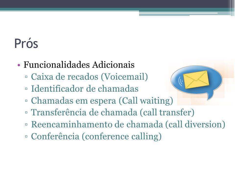 Prós Funcionalidades Adicionais Caixa de recados (Voicemail) Identificador de chamadas Chamadas em espera (Call waiting) Transferência de chamada (cal