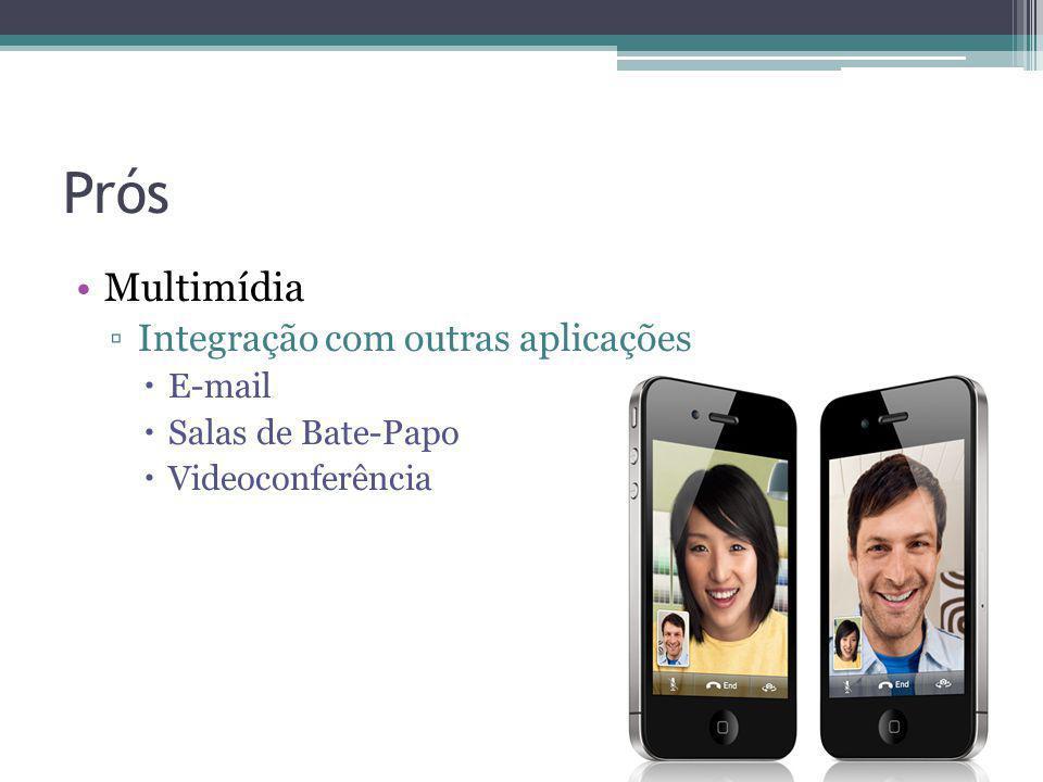 Prós Multimídia Integração com outras aplicações E-mail Salas de Bate-Papo Videoconferência