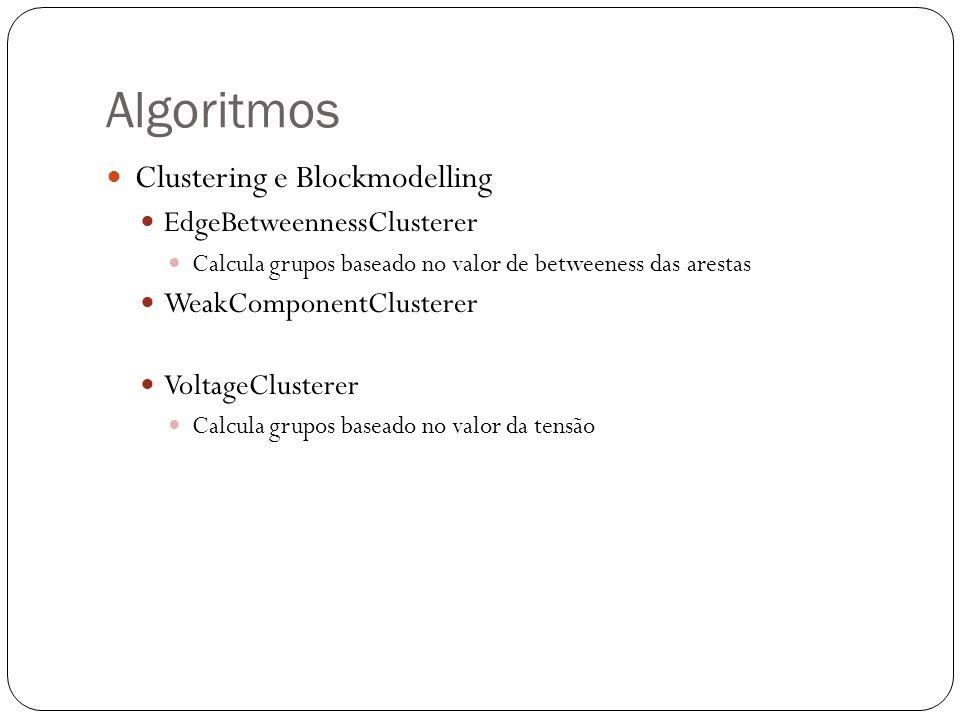 Clustering e Blockmodelling EdgeBetweennessClusterer Calcula grupos baseado no valor de betweeness das arestas WeakComponentClusterer VoltageClusterer