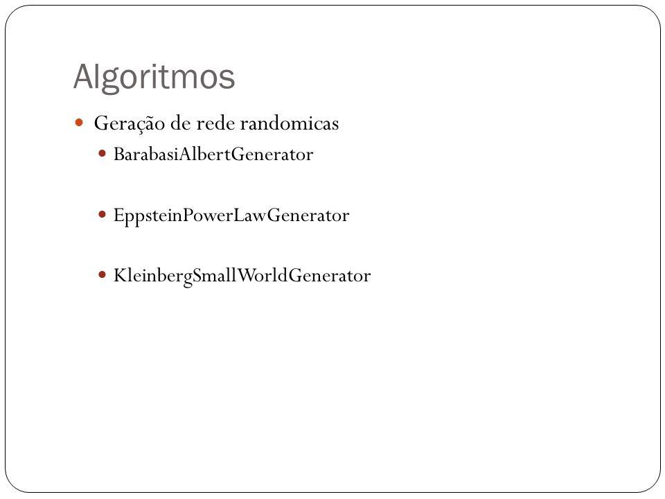 Algoritmos Geração de rede randomicas BarabasiAlbertGenerator EppsteinPowerLawGenerator KleinbergSmallWorldGenerator