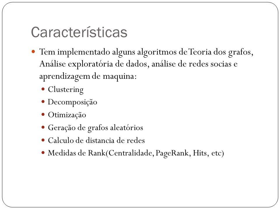 Características Tem implementado alguns algoritmos de Teoria dos grafos, Análise exploratória de dados, análise de redes socias e aprendizagem de maqu