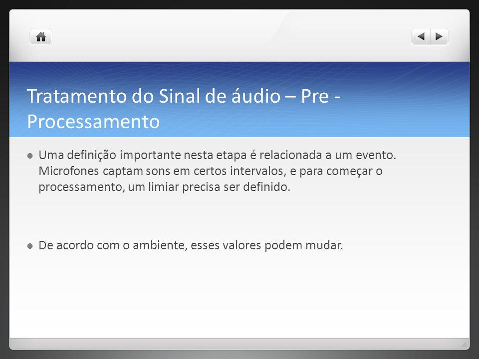 Tratamento do Sinal de áudio – Pre - Processamento Uma definição importante nesta etapa é relacionada a um evento.