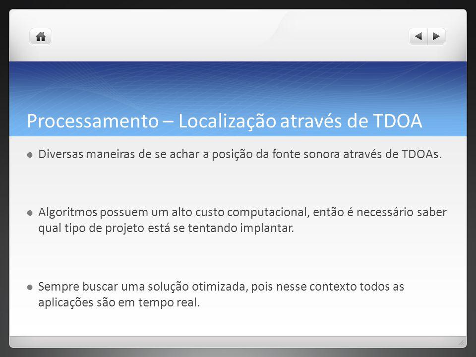 Processamento – Localização através de TDOA Diversas maneiras de se achar a posição da fonte sonora através de TDOAs.