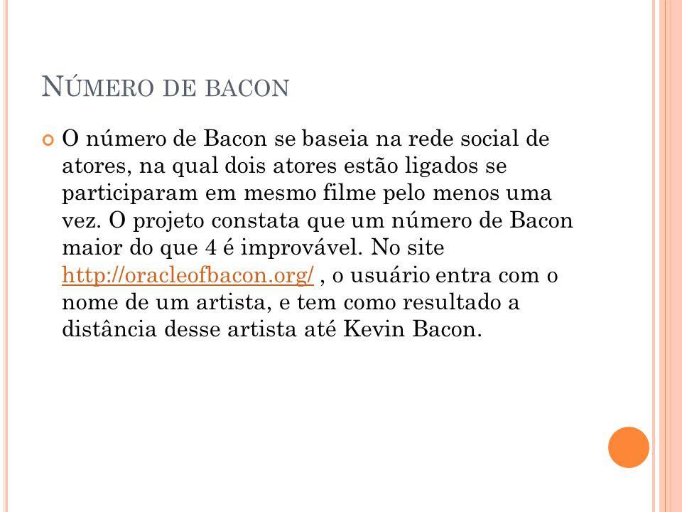 N ÚMERO DE BACON O número de Bacon se baseia na rede social de atores, na qual dois atores estão ligados se participaram em mesmo filme pelo menos uma