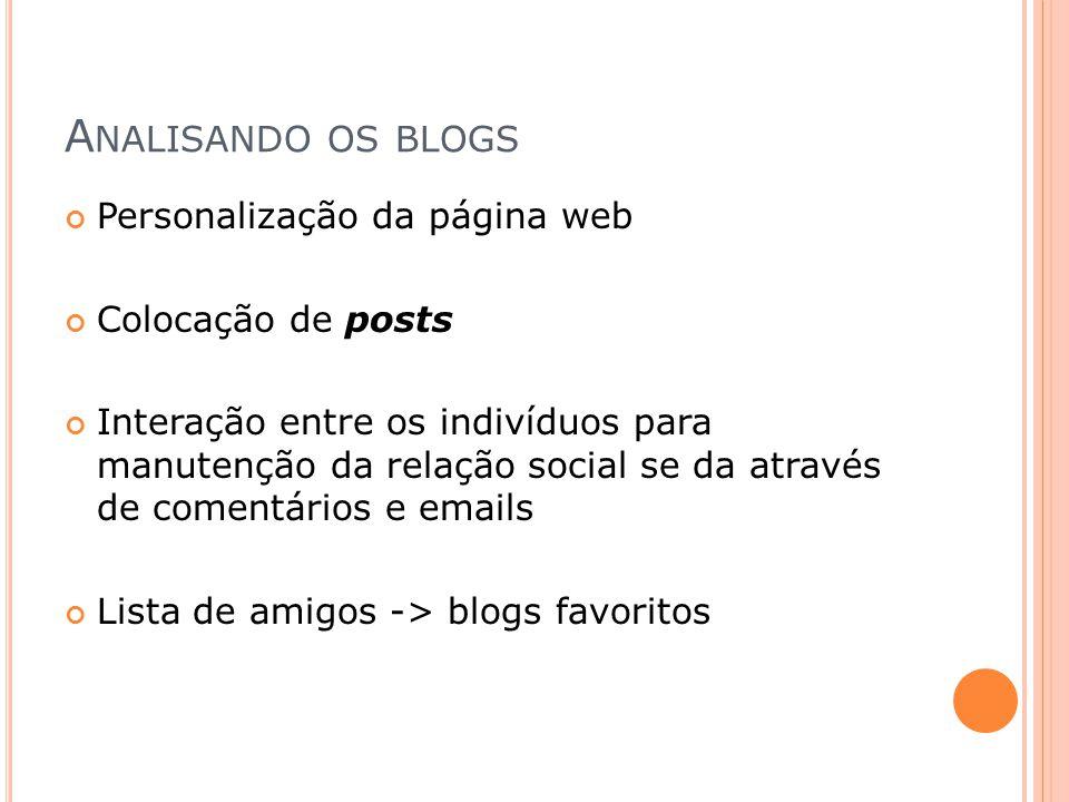 A NALISANDO OS BLOGS Personalização da página web Colocação de posts Interação entre os indivíduos para manutenção da relação social se da através de
