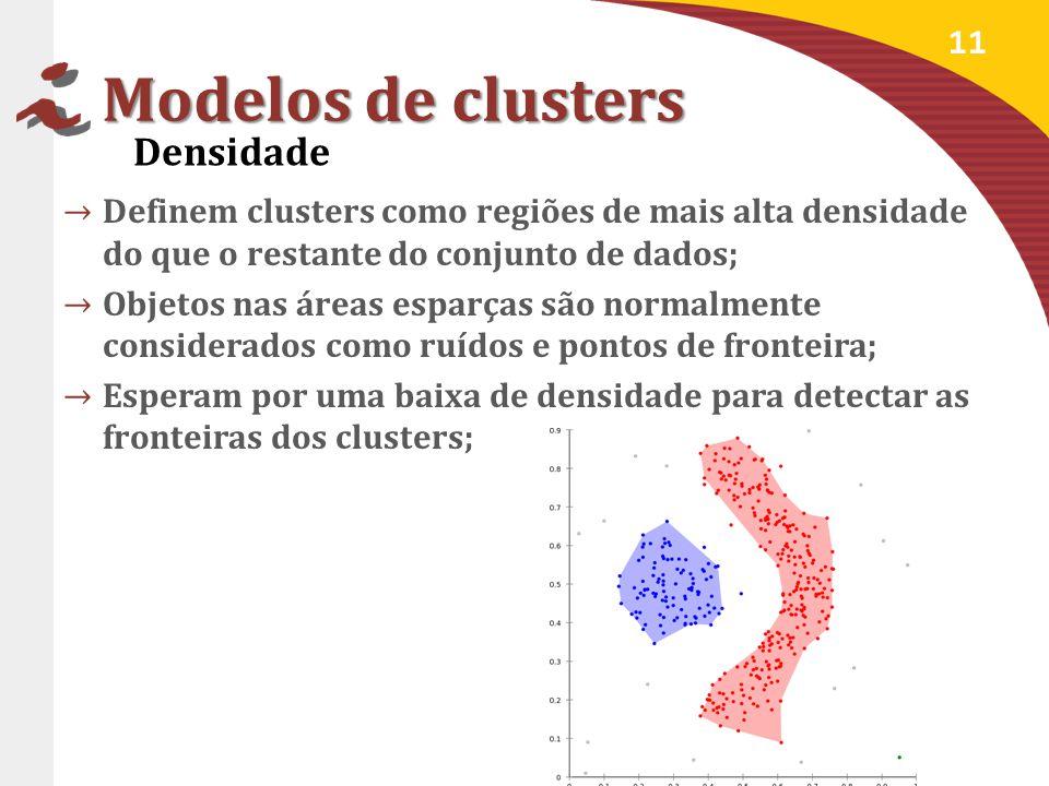 Modelos de clusters Definem clusters como regiões de mais alta densidade do que o restante do conjunto de dados; Objetos nas áreas esparças são normalmente considerados como ruídos e pontos de fronteira; Esperam por uma baixa de densidade para detectar as fronteiras dos clusters; 11 Densidade