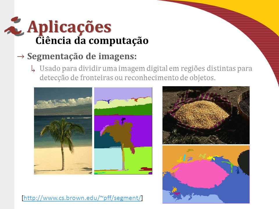 Aplicações Segmentação de imagens: Usado para dividir uma imagem digital em regiões distintas para detecção de fronteiras ou reconhecimento de objetos.