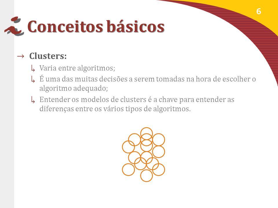 Modelos de clusters Constroem modelos baseados na distância de conectividade: Objetos são mais similares a objetos próximos do que a objetos que estão longe.