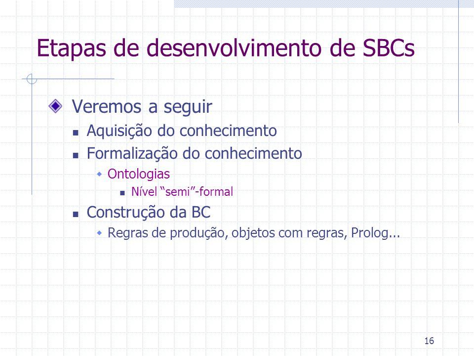16 Etapas de desenvolvimento de SBCs Veremos a seguir Aquisição do conhecimento Formalização do conhecimento Ontologias Nível semi-formal Construção da BC Regras de produção, objetos com regras, Prolog...
