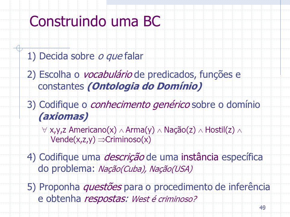 49 Construindo uma BC 1) Decida sobre o que falar 2) Escolha o vocabulário de predicados, funções e constantes (Ontologia do Domínio) 3) Codifique o conhecimento genérico sobre o domínio (axiomas) x,y,z Americano(x) Arma(y) Nação(z) Hostil(z) Vende(x,z,y) Criminoso(x) 4) Codifique uma descrição de uma instância específica do problema: Nação(Cuba), Nação(USA) 5) Proponha questões para o procedimento de inferência e obtenha respostas: West é criminoso?