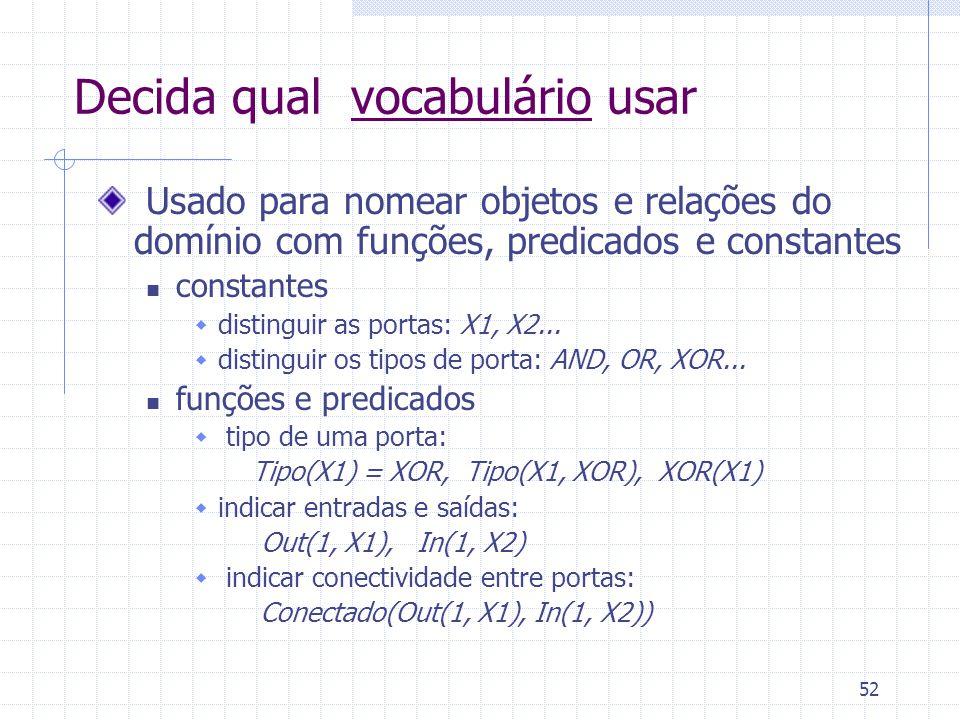 52 Decida qual vocabulário usar Usado para nomear objetos e relações do domínio com funções, predicados e constantes constantes distinguir as portas: X1, X2...