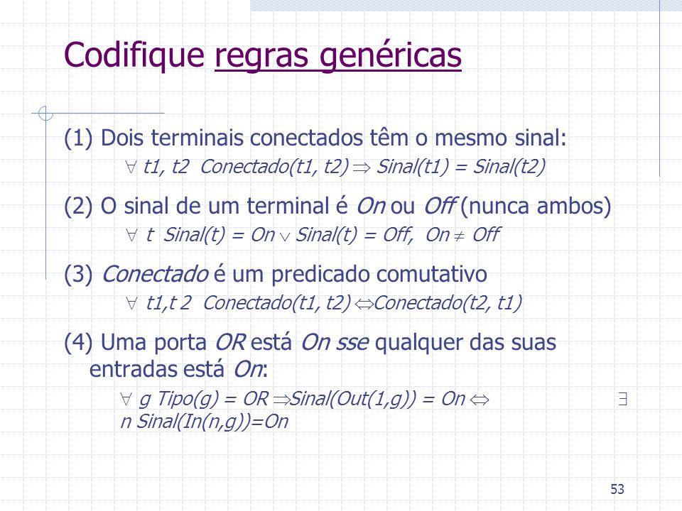 53 Codifique regras genéricas (1) Dois terminais conectados têm o mesmo sinal: t1, t2 Conectado(t1, t2) Sinal(t1) = Sinal(t2) (2) O sinal de um terminal é On ou Off (nunca ambos) t Sinal(t) = On Sinal(t) = Off, On Off (3) Conectado é um predicado comutativo t1,t 2 Conectado(t1, t2) Conectado(t2, t1) (4) Uma porta OR está On sse qualquer das suas entradas está On: g Tipo(g) = OR Sinal(Out(1,g)) = On n Sinal(In(n,g))=On