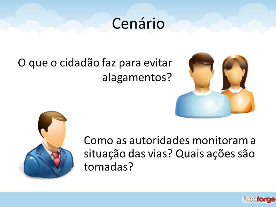 Cenário O que o cidadão faz para evitar alagamentos? Como as autoridades monitoram a situação das vias? Quais ações são tomadas?