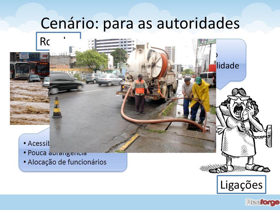 Cenário: para as autoridades Rondas Ligações Acessibilidade prejudicada Pouca abrangência Alocação de funcionários Acessibilidade prejudicada Pouca ab