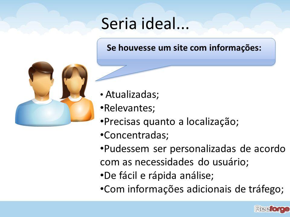 Seria ideal... Atualizadas; Relevantes; Precisas quanto a localização; Concentradas; Pudessem ser personalizadas de acordo com as necessidades do usuá
