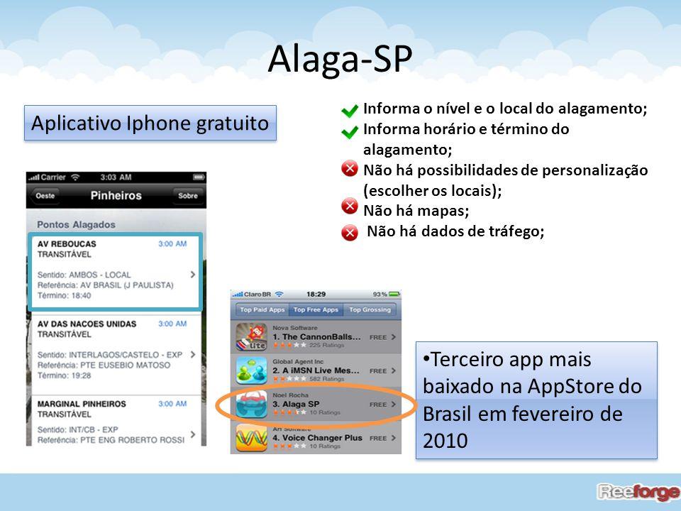 Alaga-SP Terceiro app mais baixado na AppStore do Brasil em fevereiro de 2010 Aplicativo Iphone gratuito Informa o nível e o local do alagamento; Info