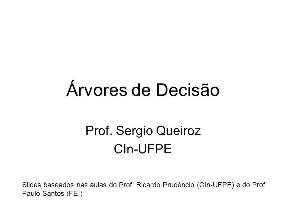 Árvores de Decisão Prof.Sergio Queiroz CIn-UFPE Slides baseados nas aulas do Prof.