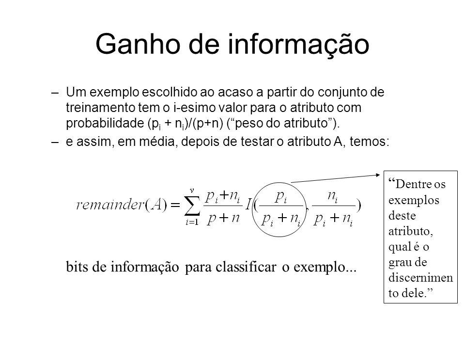 Ganho de informação –Um exemplo escolhido ao acaso a partir do conjunto de treinamento tem o i-esimo valor para o atributo com probabilidade (p i + n i )/(p+n) (peso do atributo).